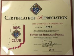 Certificate of Appreciation Support Our Seminarians 2010