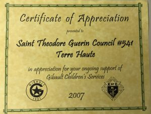 Gibault Certificate of Appreciation 2007