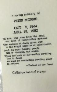 Prayer Card - Peter Morris 1982
